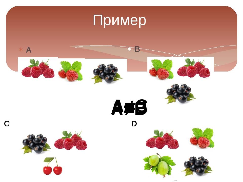 Пример А B C D A=B A≠C A≠D
