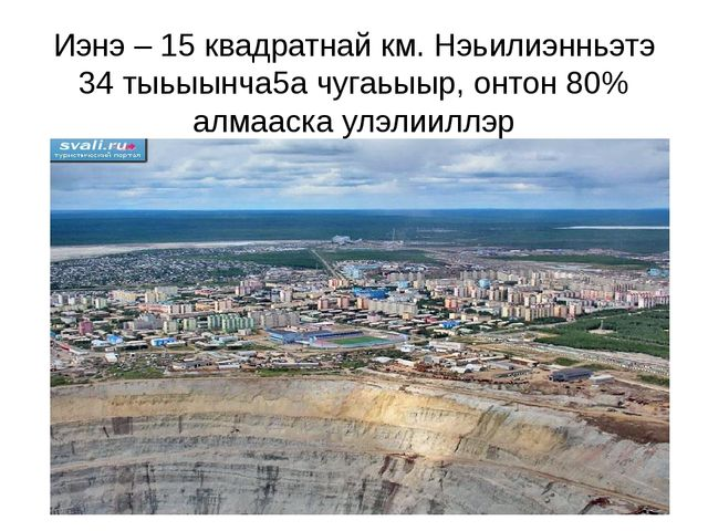 Иэнэ – 15 квадратнай км. Нэьилиэнньэтэ 34 тыьыынча5а чугаьыыр, онтон 80% алма...
