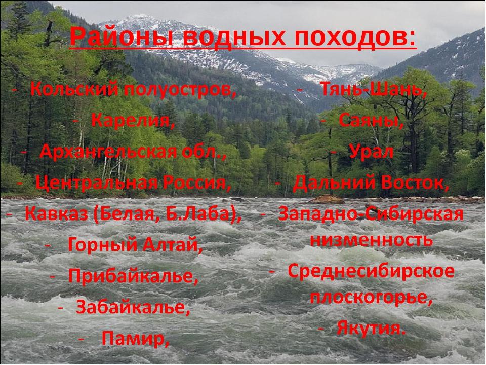 Районы водных походов: