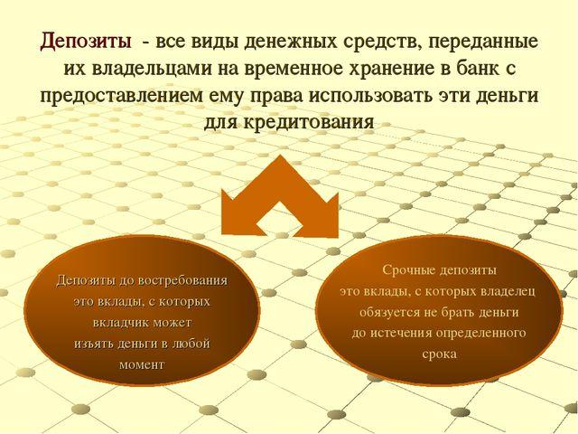 Депозиты - все виды денежных средств, переданные их владельцами на временное...