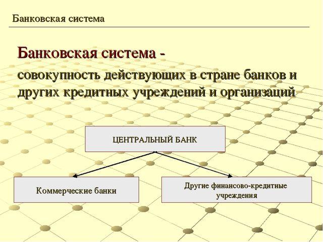 Презентация по экономике на тему Банки и банковская система  Банковская система совокупность действующих в стране банков и других кредит