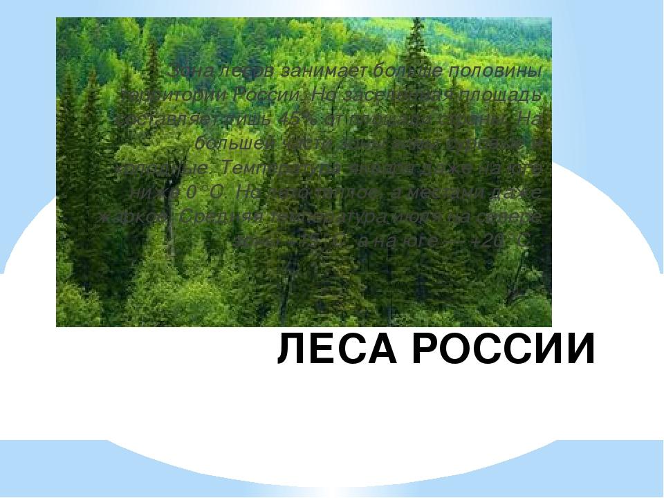 ЛЕСА РОССИИ Зона лесов занимает больше половины территории России. Но заселен...
