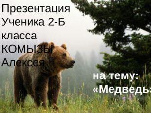 Презентация Ученика 2-Б класса КОМЫЗЫ Алексея на тему: «Медведь»