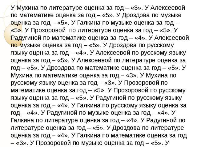 У Мухина по литературе оценка за год – «3». У Алексеевой по математике оценка...