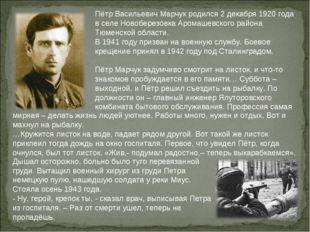Пётр Васильевич Марчук родился 2 декабря 1920 года в селе Новоберезовка Арома