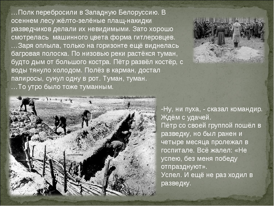 …Полк перебросили в Западную Белоруссию. В осеннем лесу жёлто-зелёные плащ-на...