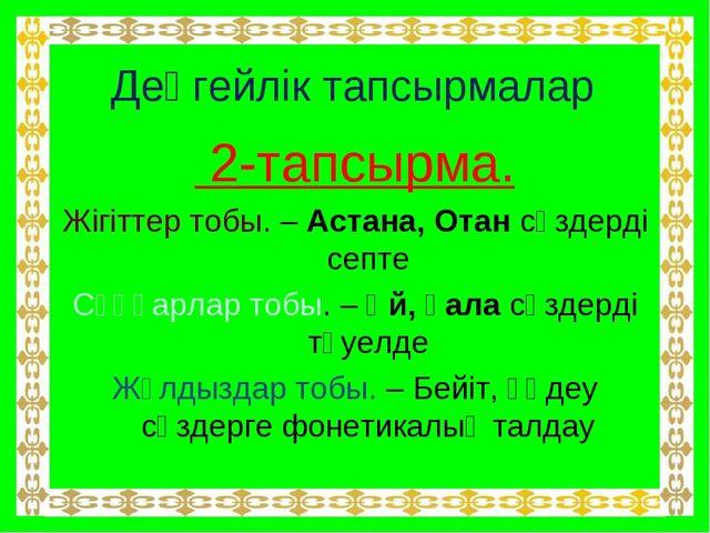 Деңгейлік тапсырмалар 2-тапсырма. Жігіттер тобы. – Астана, Отан сөздерді септ...