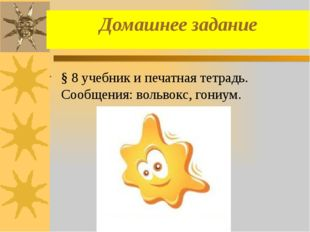 Домашнее задание § 8 учебник и печатная тетрадь. Сообщения: вольвокс, гониум.