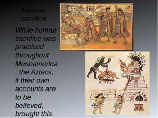 Human sacrifice While human sacrifice was practiced throughout Mesoamerica, t