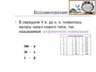 Возникновение В середине V в. до н. э. появилась запись чисел нового типа, та