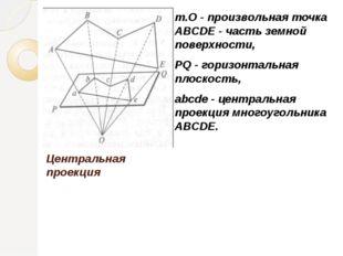 Центральная проекция т.О - произвольная точка ABCDE - часть земной поверхност