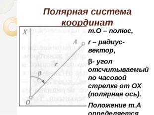 Полярная система координат т.О – полюс, r – радиус-вектор, β- угол отсчитывае