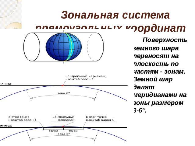 Зональная система прямоугольных координат Гаусса Поверхность земного шара п...
