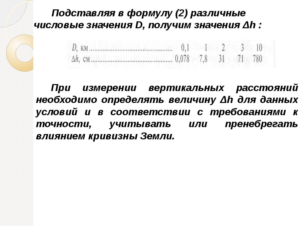 Подставляя в формулу (2) различные числовые значения D, получим значения Δh...