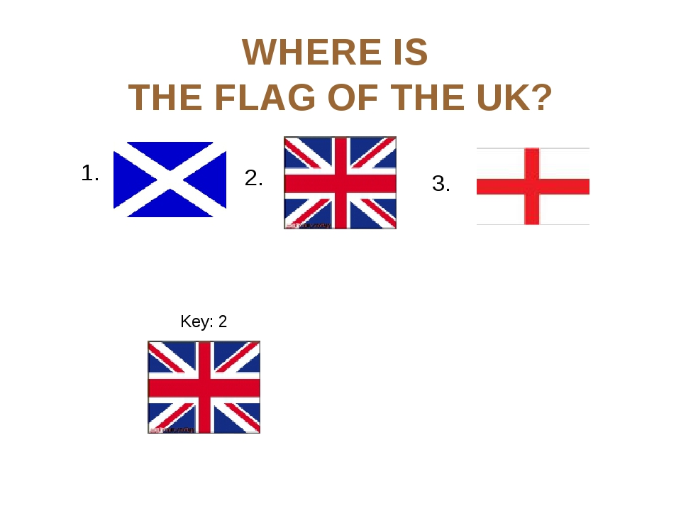 WHERE IS THE FLAG OF THE UK? 1. 3. Key: 2 2.