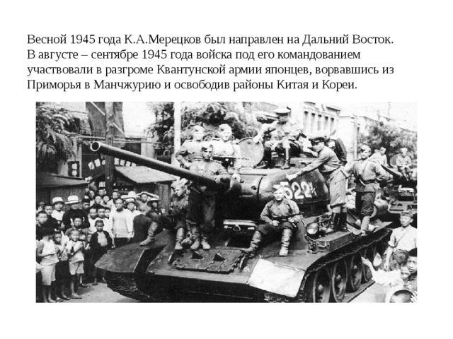 Весной 1945 года К.А.Мерецков был направлен на Дальний Восток. В августе – с...