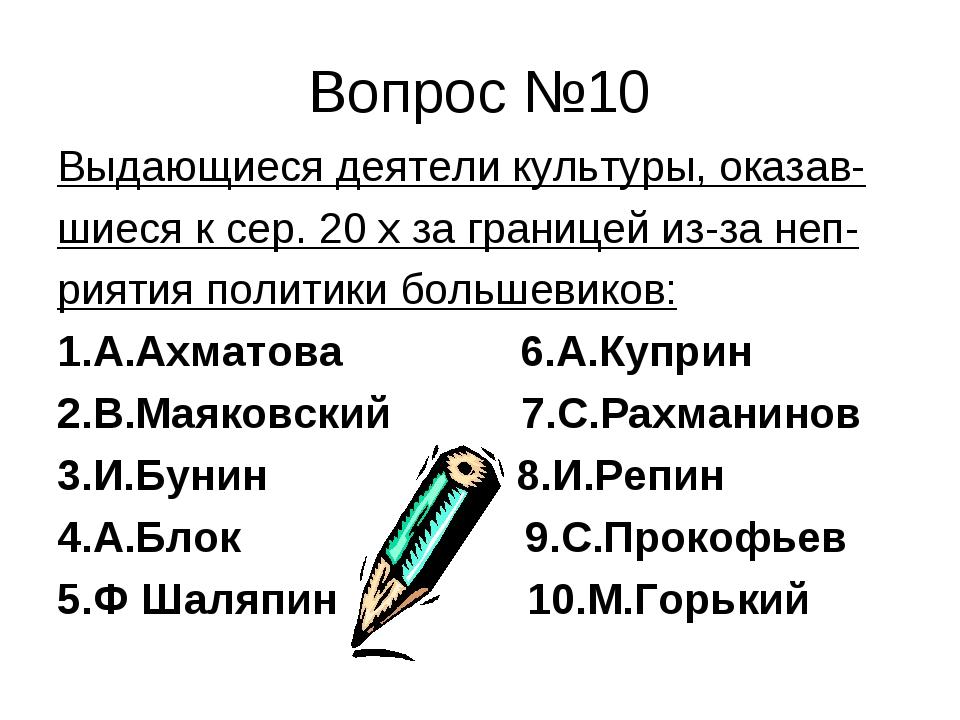 Вопрос №10 Выдающиеся деятели культуры, оказав- шиеся к сер. 20 х за границей...
