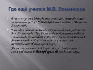 В числе лучших двенадцати учеников, отправленных за хорошую учёбу в Петербург