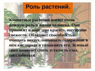 Роль растений. Комнатные растения имеют очень важную роль в жизни человека. О