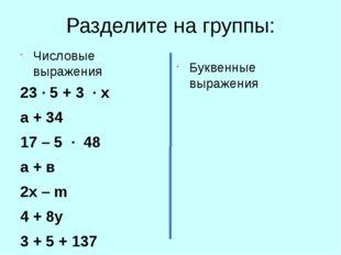 Разделите на группы: Числовые выражения 23 ∙ 5 + 3 ∙ х а + 34 17 – 5 ∙ 48 а +