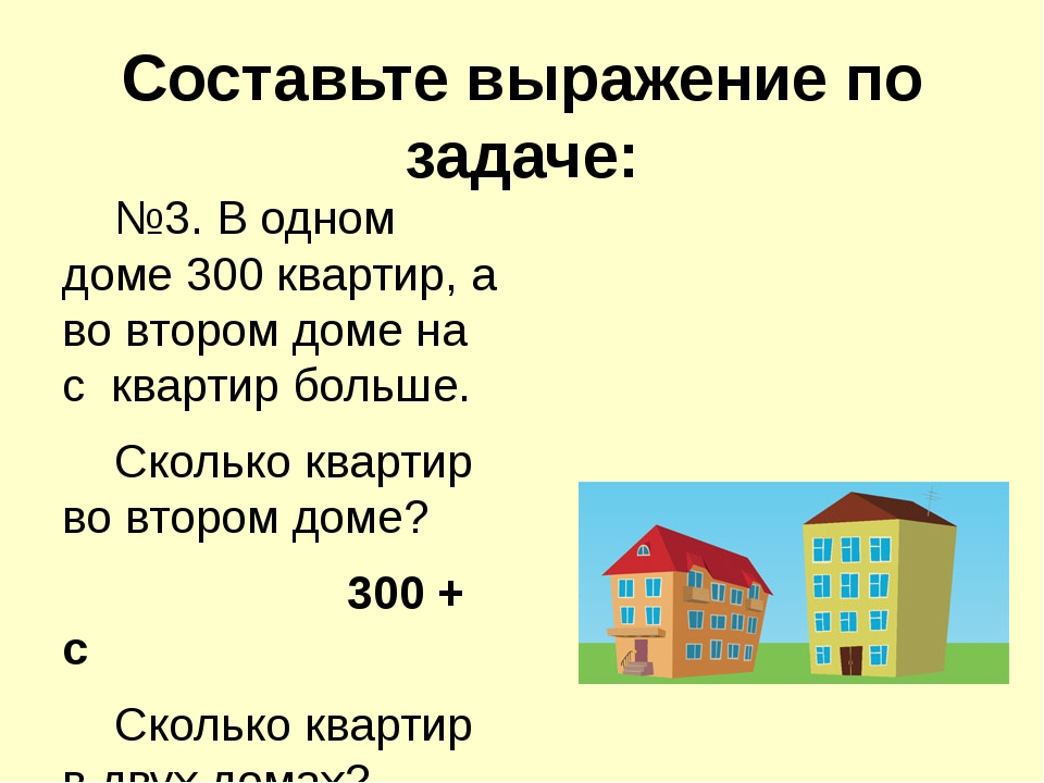 Составьте выражение по задаче: №3. В одном доме 300 квартир, а во втором дом...