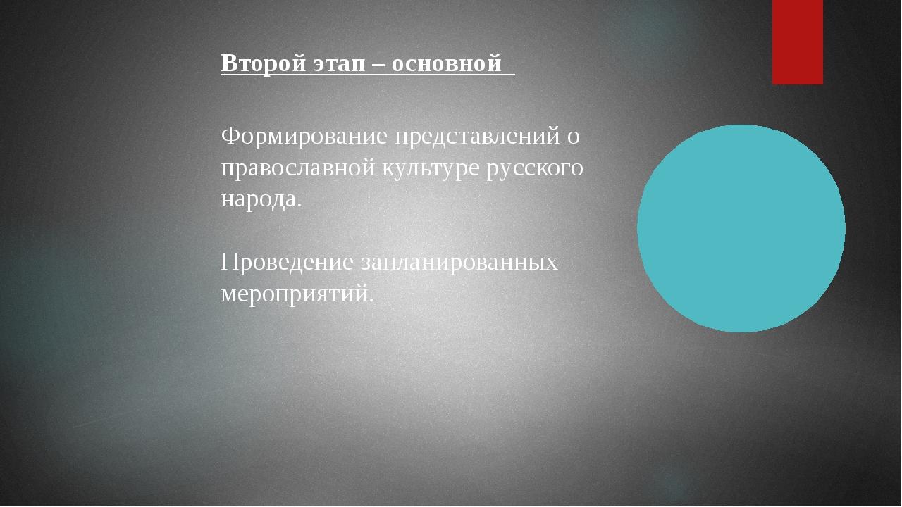 Второй этап – основной Формирование представлений о православной культуре рус...