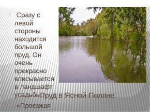 Пруд в Ясной Поляне Сразу с левой стороны находится большой пруд. Он очень пр