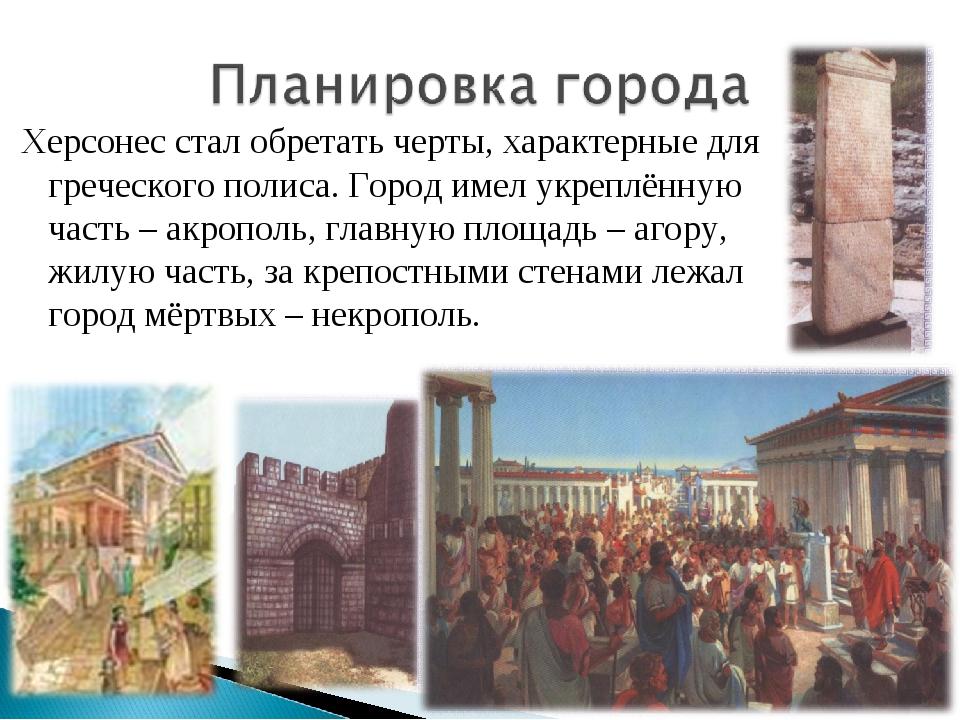 Херсонес стал обретать черты, характерные для греческого полиса. Город имел у...