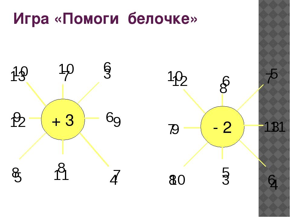 Игра «Помоги белочке» 7 6 3 8 4 9 5 10 9 13 8 + 3 - 2 6 5 7 12 10 10 6 9 7 11...