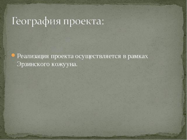 Реализация проекта осуществляется в рамках Эрзинского кожууна.