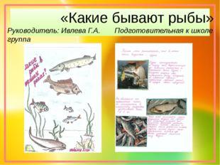 «Какие бывают рыбы» Руководитель: Ивлева Г.А. Подготовительная к школе группа