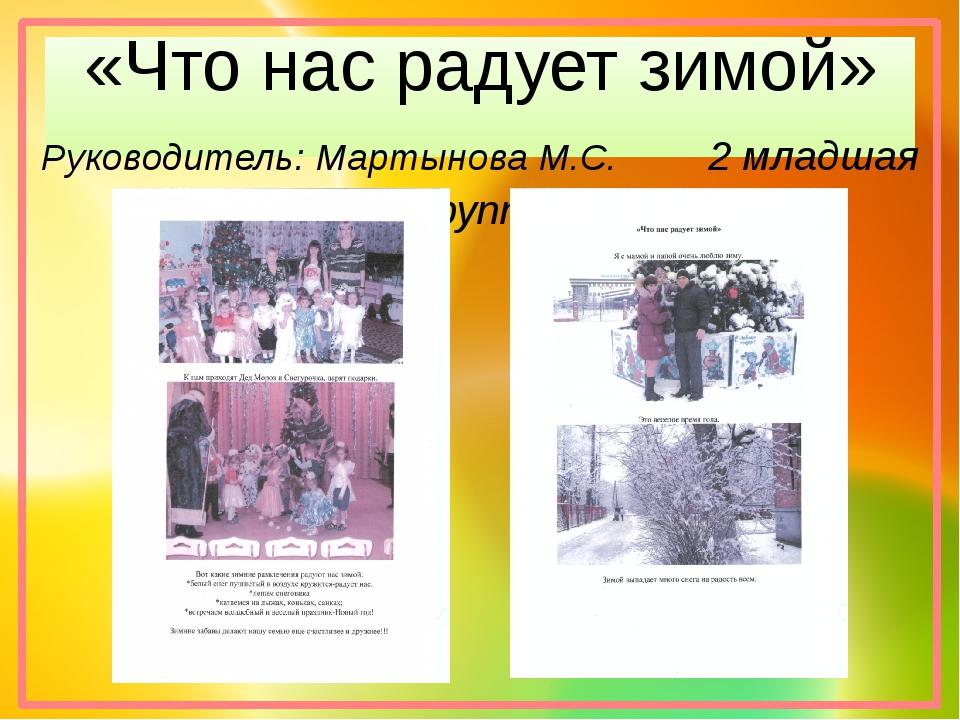 «Что нас радует зимой» Руководитель: Мартынова М.С. 2 младшая группа