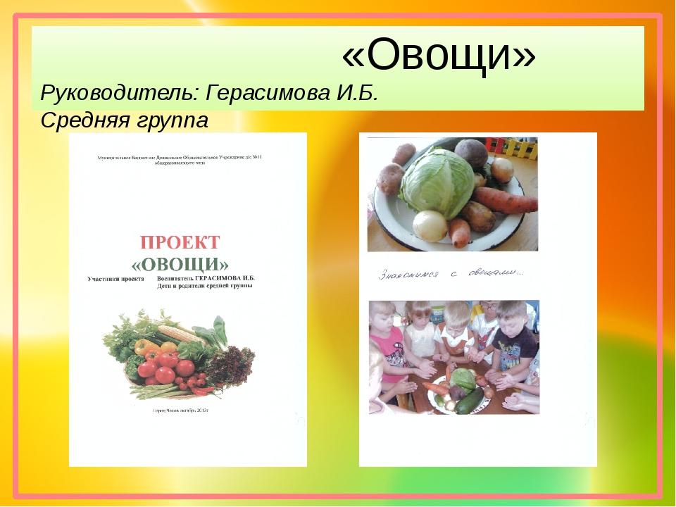 «Овощи» Руководитель: Герасимова И.Б. Средняя группа