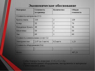 Экономическое обоснование Себестоимость изделия: С=С1+С2+Ао Другое необходимо