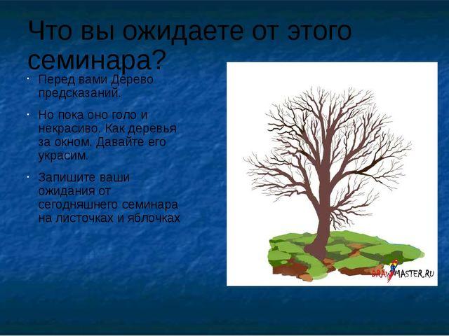 Что вы ожидаете от этого семинара? Перед вами Дерево предсказаний. Но пока он...