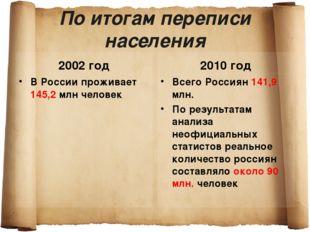 По итогам переписи населения 2002 год В России проживает 145,2 млн человек 20