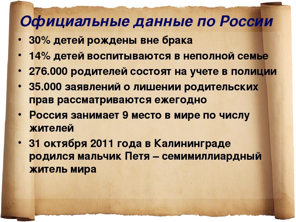 Официальные данные по России 30% детей рождены вне брака 14% детей воспитываю...