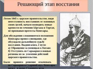 Решающий этап восстания Летом 1845 г. царское правительство, видя неотступнос