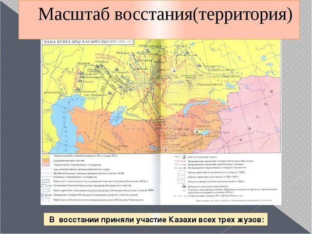 Масштаб восстания(территория) В восстании приняли участие Казахи всех трех жу...