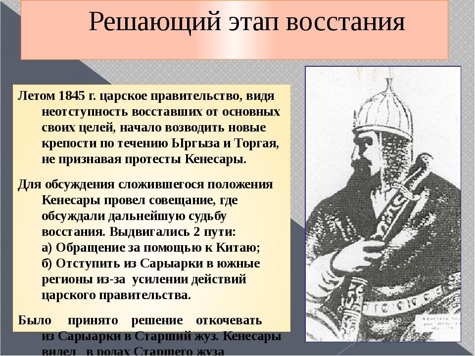 Решающий этап восстания Летом 1845 г. царское правительство, видя неотступнос...