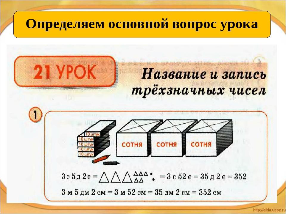 Определяем основной вопрос урока Название и запись трёхзначных чисел