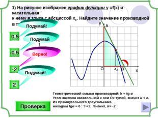 1) На рисунке изображен график функции у =f(x) и касательная к нему в точке с