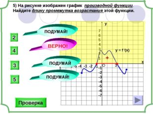 5) На рисунке изображен график производной функции. Найдите длину промежутка