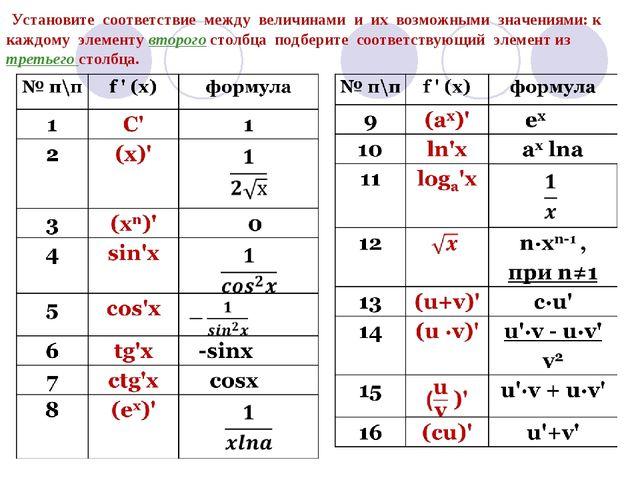Установите соответствие между величинами и их возможными значениями: к каждо...