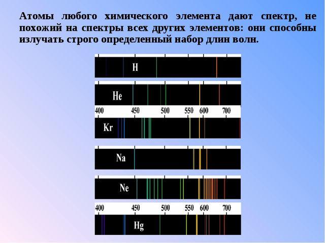 Атомы любого химического элемента дают спектр, не похожий на спектры всех дру...