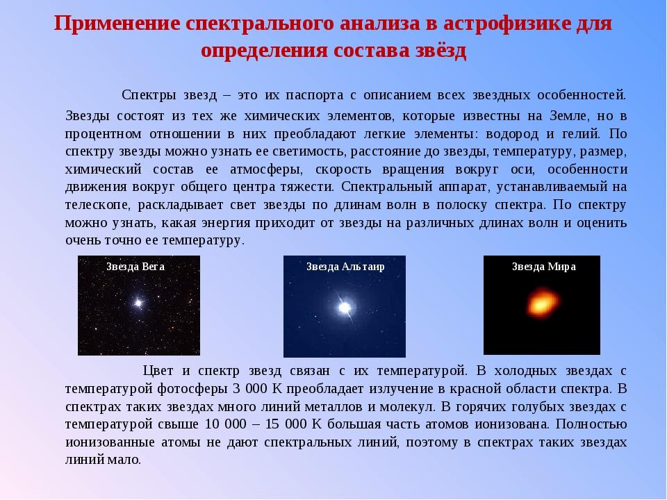 Применение спектрального анализа в астрофизике для определения состава звёзд...
