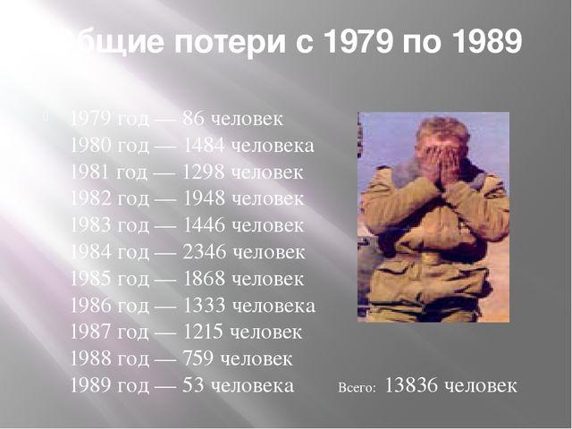 Общие потери с 1979 по 1989 1979 год — 86 человек 1980 год — 1484 человека 19...