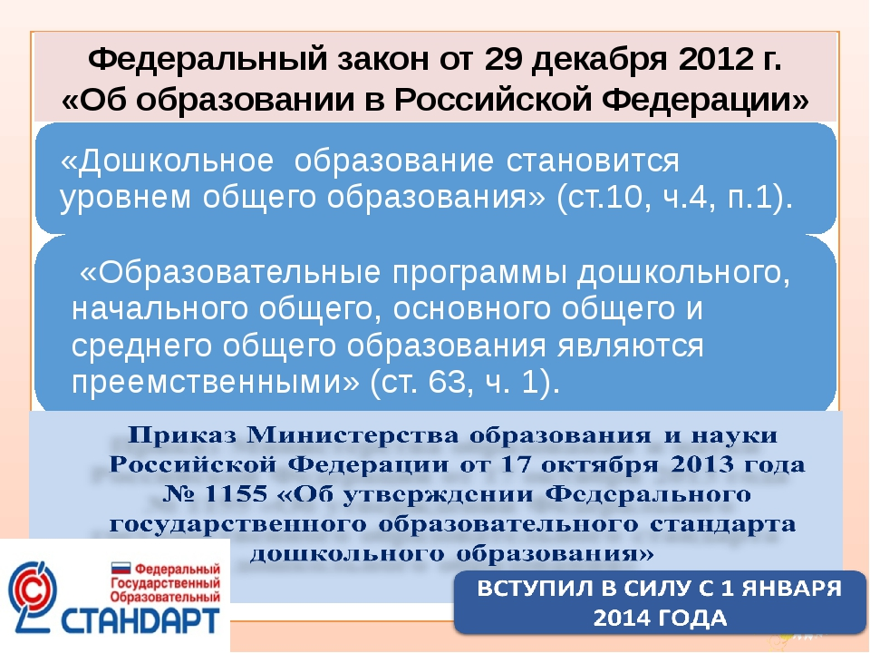 Федеральный закон от 29 декабря 2012 г. «Об образовании в Российской Федераци...