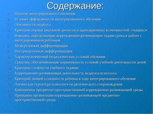 Содержание: Понятие интегрированного обучения Условия эффективности интегриро
