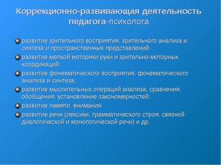 Коррекционно-развивающая деятельность педагога-психолога развитие зрительного